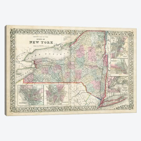 County Map Of The State Of New York Canvas Print #SAM1} by Samuel Augustus Mitchell Jr. Canvas Artwork