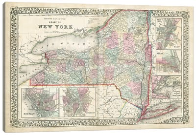 County Map Of The State Of New York Canvas Art Print