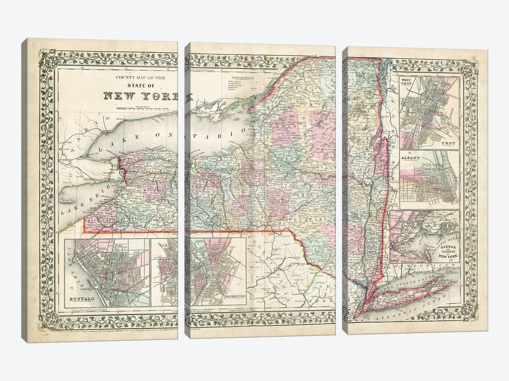 County Map Of The State Of New York by Samuel Augustus Mitchell Jr. 3-piece Canvas Artwork