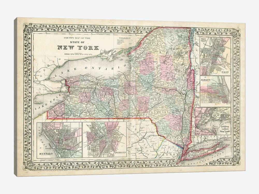 County Map Of The State Of New York by Samuel Augustus Mitchell Jr. 1-piece Canvas Wall Art