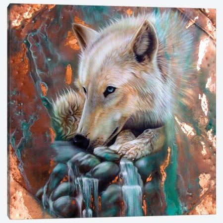 Copper Arctic Wolf 3-Piece Canvas #SAN13} by Sandi Baker Canvas Print