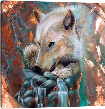 Copper Arctic Wolf Canvas Art Print