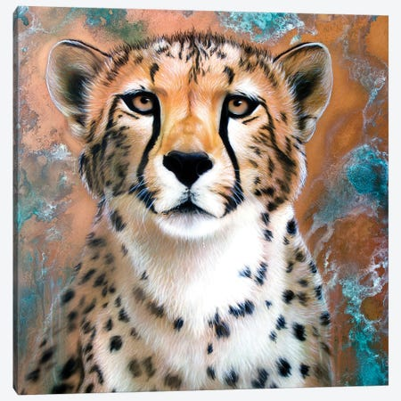 Copper Cheetah 3-Piece Canvas #SAN15} by Sandi Baker Canvas Artwork