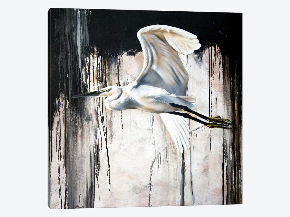 Abstract Egret by Sandi Baker 1-piece Canvas Print