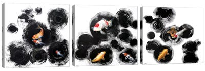 Raindrops Reveal Triptych Canvas Art Print