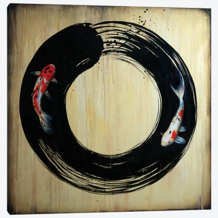 Enso With Koi Canvas Print #SAN44} by Sandi Baker Canvas Print