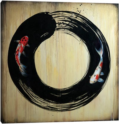 Enso With Koi Canvas Art Print