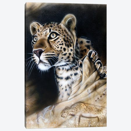 The Source - Leopard Canvas Print #SAN72} by Sandi Baker Canvas Art Print