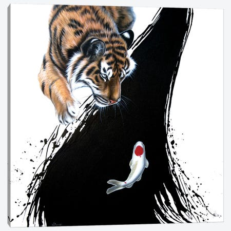 Tiger With Koi Canvas Print #SAN88} by Sandi Baker Canvas Artwork