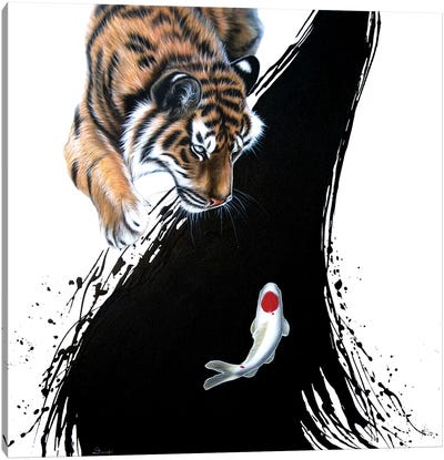 Tiger With Koi Canvas Art Print