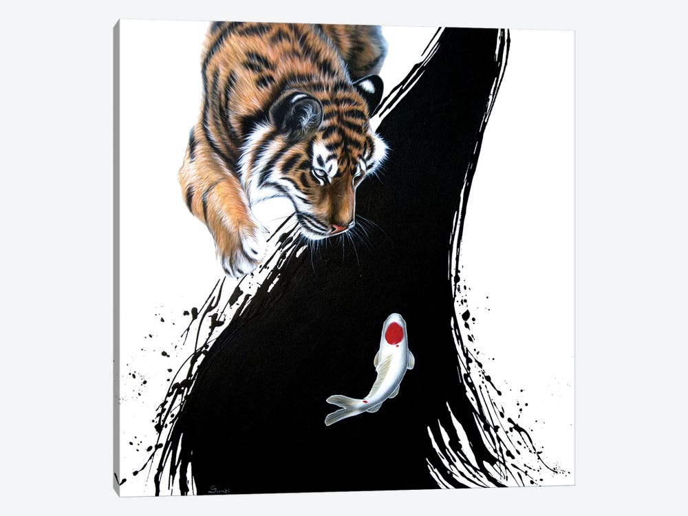 Tiger With Koi by Sandi Baker 1-piece Canvas Print