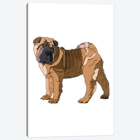 Shar Pei Canvas Print #SAP101} by Sketch and Paws Canvas Art
