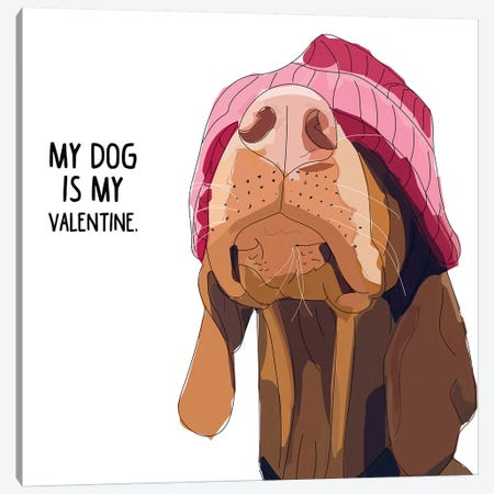 Valentine Vizsla Canvas Print #SAP106} by Sketch and Paws Art Print