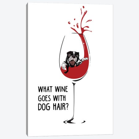 Wine Dog Hair Canvas Print #SAP108} by Sketch and Paws Canvas Wall Art