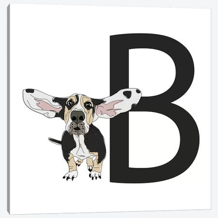 B Is For Basset Hound Canvas Print #SAP111} by Sketch and Paws Art Print