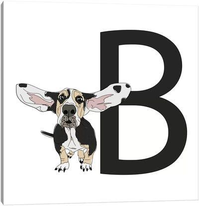 B Is For Basset Hound Canvas Art Print