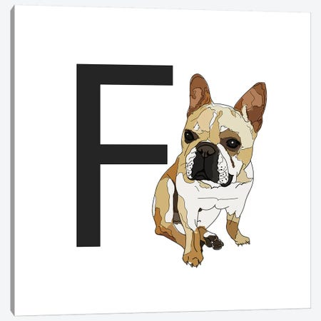 F Is For French Bulldog Canvas Print #SAP115} by Sketch and Paws Canvas Wall Art