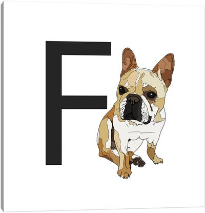 F Is For French Bulldog Canvas Art Print