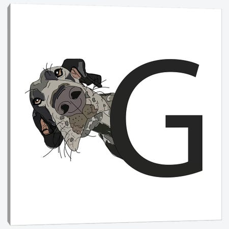 G Is For Great Dane Canvas Print #SAP116} by Sketch and Paws Canvas Art