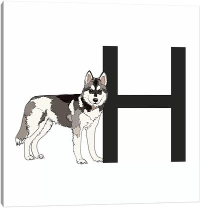 H Is For Husky Canvas Art Print