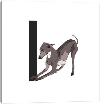 I Is For Italian Greyhound Canvas Art Print