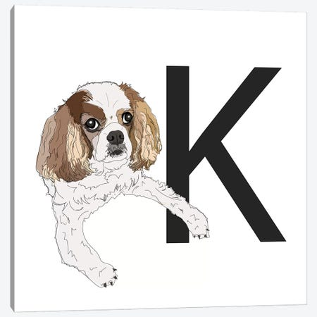 K Is For King Charles Cavalier Canvas Print #SAP120} by Sketch and Paws Canvas Artwork