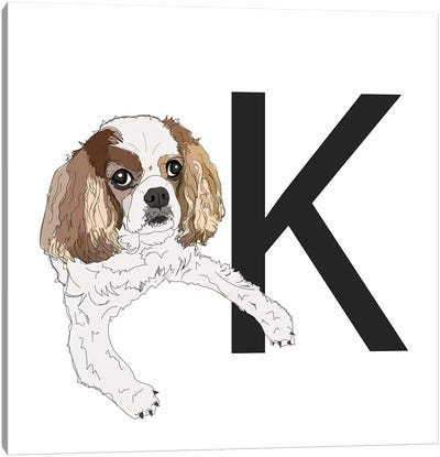 K Is For King Charles Cavalier Canvas Art Print