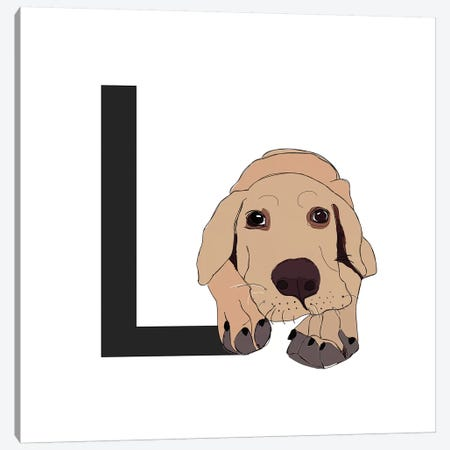 L Is For Labrador Canvas Print #SAP121} by Sketch and Paws Canvas Artwork