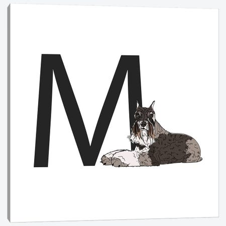 M Is For Miniature Schnauzer Canvas Print #SAP122} by Sketch and Paws Canvas Art