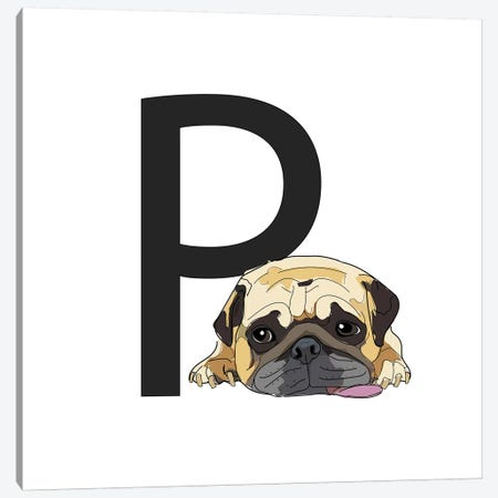P Is For Pug Canvas Print #SAP125} by Sketch and Paws Art Print