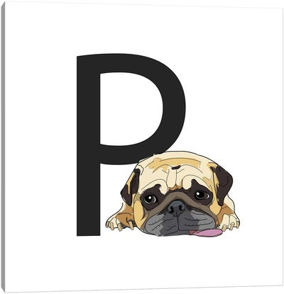 P Is For Pug Canvas Art Print