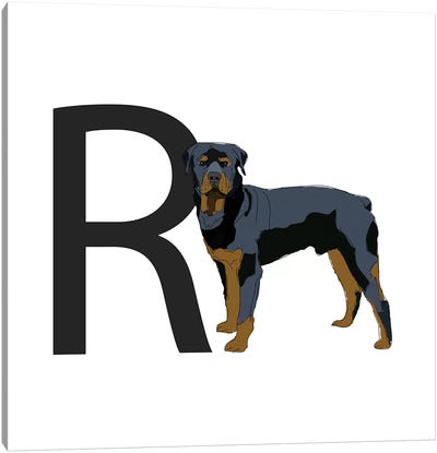 R Is For Rottweiler Canvas Art Print