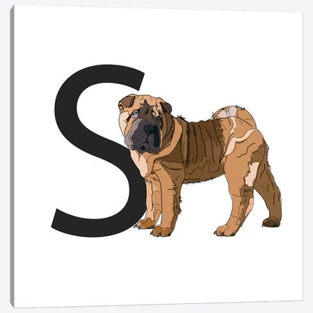 S Is For Shar Pei Canvas Print #SAP128} by Sketch and Paws Canvas Wall Art