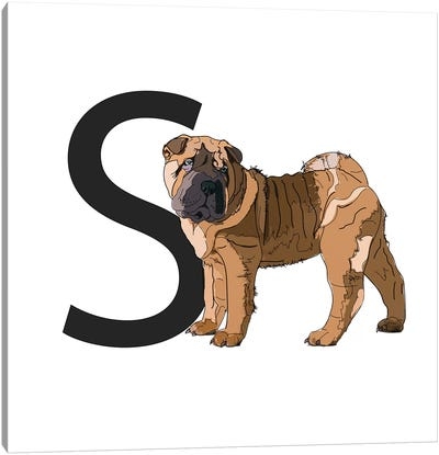 S Is For Shar Pei Canvas Art Print
