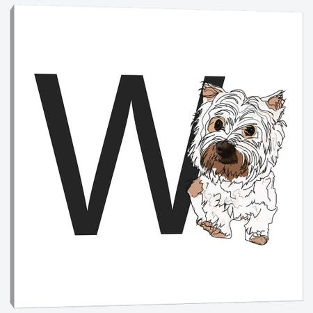 W Is For West Highland White Terrier (Westie) Canvas Print #SAP132} by Sketch and Paws Canvas Print