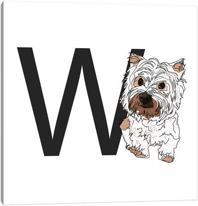 W Is For West Highland White Terrier (Westie) Canvas Art Print