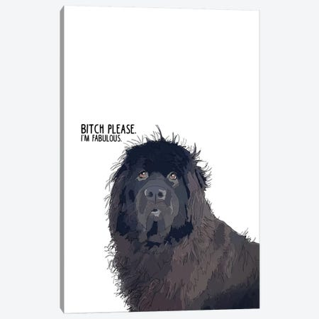 Bitch Please Newfie Canvas Print #SAP15} by Sketch and Paws Canvas Wall Art