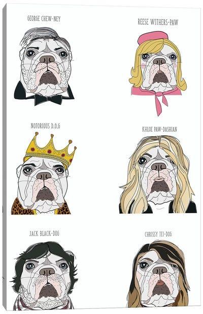 Celebrity English Bulldogs Canvas Art Print