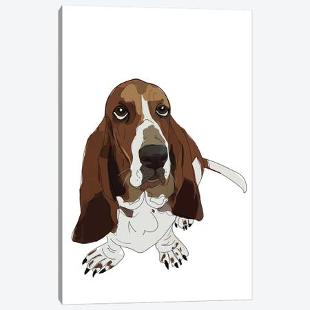 Basset Hound Canvas Print #SAP3} by Sketch and Paws Canvas Art