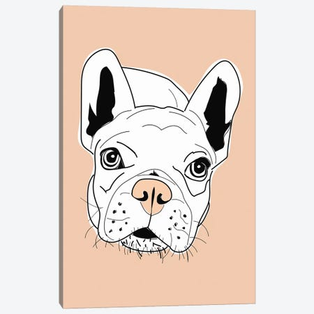 Frenchie Face Pink Canvas Print #SAP48} by Sketch and Paws Canvas Artwork