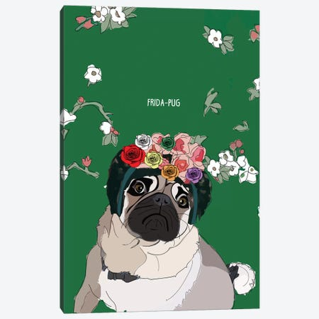 Frida-Pug Canvas Print #SAP51} by Sketch and Paws Canvas Print