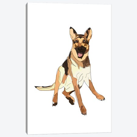 German Shepherd Canvas Print #SAP55} by Sketch and Paws Canvas Artwork