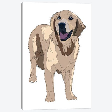 Golden Retreiver Canvas Print #SAP57} by Sketch and Paws Canvas Wall Art