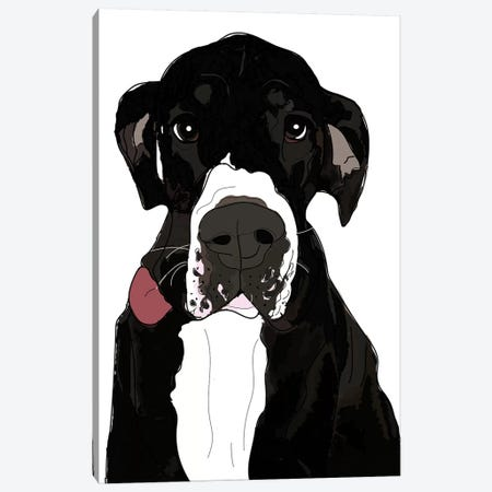 Great Dane Tongue Out Canvas Print #SAP61} by Sketch and Paws Canvas Artwork