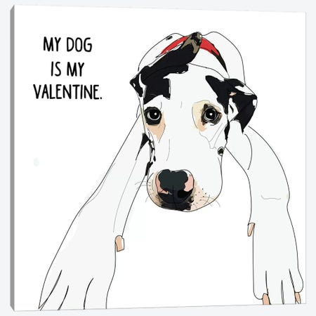 Great Dane Valentine Canvas Print #SAP62} by Sketch and Paws Canvas Wall Art