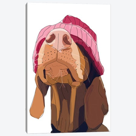Hipster Vizsla Canvas Print #SAP69} by Sketch and Paws Canvas Artwork