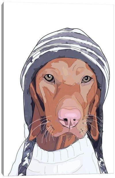 Hipster Vizsla Beanie Canvas Art Print