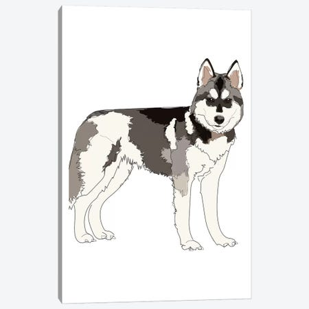 Husky Canvas Print #SAP71} by Sketch and Paws Canvas Art Print