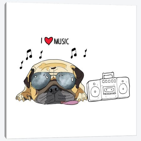 I Love Music Pug Canvas Print #SAP72} by Sketch and Paws Art Print
