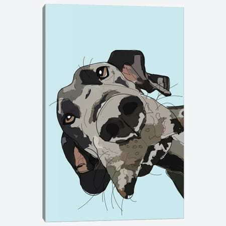 In Your Face Dane Blue Canvas Print #SAP74} by Sketch and Paws Canvas Wall Art